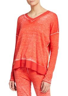 Lisa Todd Plus Size Hello Mello V-Neck Pointelle Sleeve Sweater