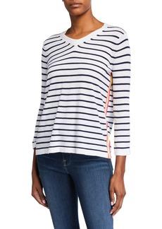 Lisa Todd Plus Size Side Stripe 3/4-Sleeve V-Neck Tee