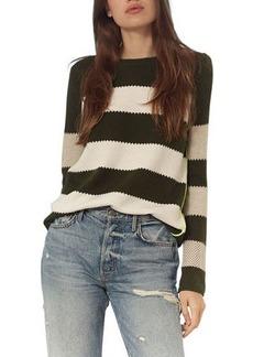 Lisa Todd Stripe On Mixed-Stitch Cotton Sweater