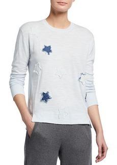 Lisa Todd Superstar Frayed Applique Cotton Sweater