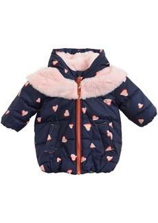 Little Marc Jacobs Hooded Nylon & Faux Fur Coat