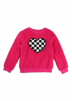 Little Marc Jacobs Soft Faux-Fur Heart Illustration Sweater
