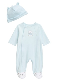Infant Boy's Little Me Cute Bear Footie & Hat Set