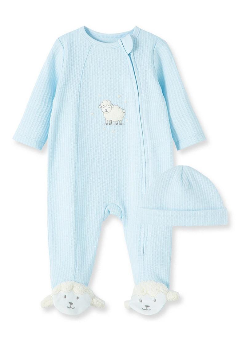 Infant Boy's Little Me Lamb Cotton Footie & Hat Set