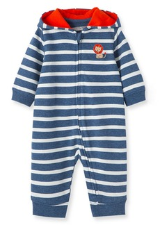 Infant Boy's Little Me Lion Stripe Hooded Romper