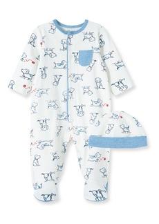 Infant Boy's Little Me Puppy Cotton Footie & Hat Set