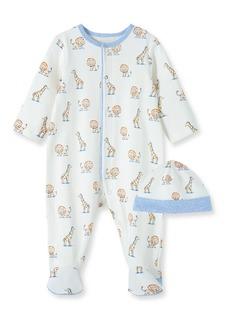 Infant Boy's Little Me Safari Cotton Footie & Beanie Set