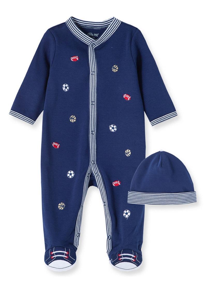 Infant Boy's Little Me Sports Schiffli Embroidery Footie & Hat Set