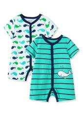 Infant Boy's Little Me Whale 2-Piece Romper Set