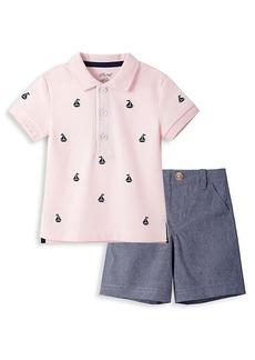Little Me Little Boy's 2-Piece Sailboat Polo & Chambray Shorts Set