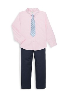 Little Me Little Boy's 3-Piece Boat-Embroidered Tie, Shirt & Pants Set