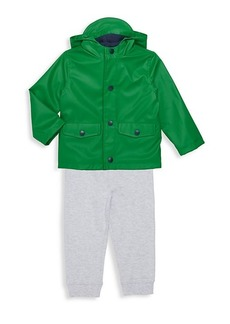Little Me Little Boy's 3-Piece Raincoat, Top & Pant Set