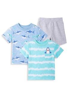 Little Me Little Boy's Shark 3-Piece T-Shirts & Shorts Play Set