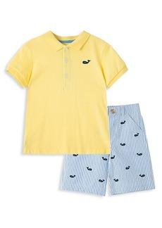 Little Me Little Boy's Whale 2-Piece Polo & Shorts Set