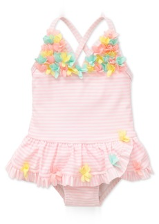 Little Me 1-Pc. Striped Floral Swimsuit, Baby Girls