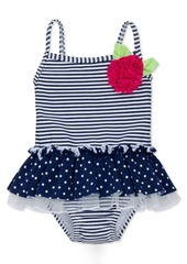 Little Me 1-Pc. Stripes & Dot-Print Tutu Swimsuit, Baby Girls (0-24 months)