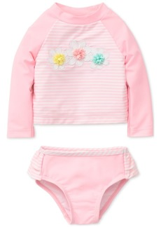 Little Me 2-Pc. Striped Rash Guard Swimsuit, Baby Girls
