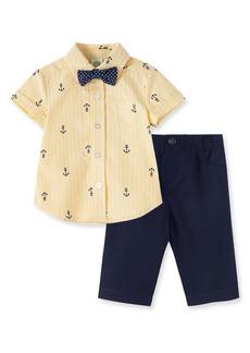 Little Me Anchor Print Woven Shirt & Pants Set (Baby)