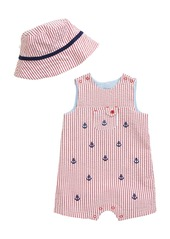 Little Me Anchor Stripe Romper & Sun Hat Set (Baby)