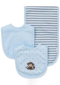 Little Me Baby Boys 3-Piece Monkey Bibs & Burp Cloth Set