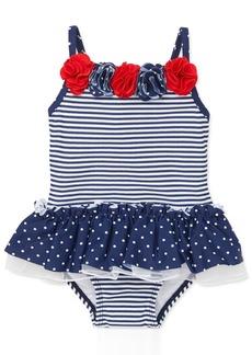 Little Me Baby Girls 1-Pc. Dot-Print & Striped Swimsuit