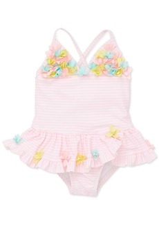 Little Me Baby Girls 1-Pc. Floral-Trim Striped Swimsuit