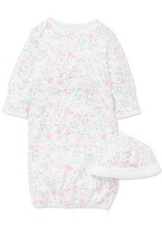 Little Me Baby Girls 2-Pc. Cotton Floral-Print Hat & Gown Set