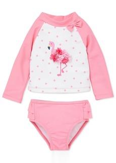 Little Me Baby Girls 2-Pc. Dot-Print Flamingo Rash Guard Swimsuit