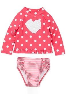 Little Me Baby Girls 2-Pc. Dot-Print Heart Rash Guard Swimsuit