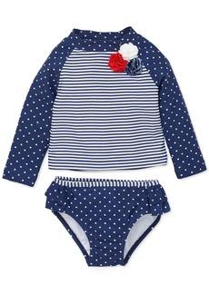 Little Me Baby Girls 2-Pc. Dot-Print Striped Rash Guard Swimsuit