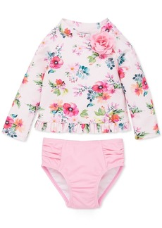 Little Me Baby Girls 2-Pc. Floral-Print Rash Guard Swimsuit