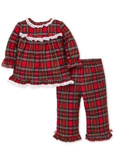 Little Me Baby Girls 2-Pc. Plaid & Lace Pajama Set