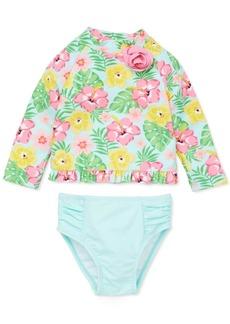 Little Me Baby Girls 2-Pc. Tropical-Print Rash Guard Swimsuit