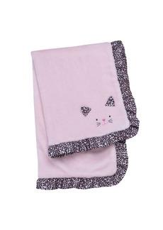 Little Me Baby Girls Embroidered Satin Kitten Baby Blanket