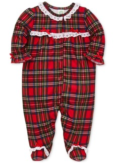 Little Me Baby Girls Plaid & Lace Footed Pajamas