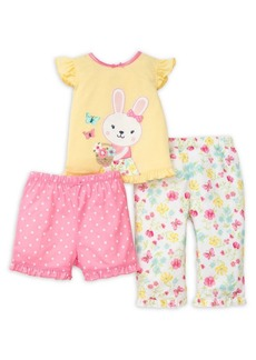Little Me Baby Girl's Three-Piece Floral Bunny Tee, Shorts & Pants Set