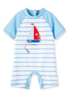 Little Me Boat One-Piece Rashguard Swimsuit (Baby)
