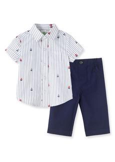 Little Me Boat Print Woven Shirt & Pants Set (Baby)