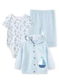 Little Me Boating Cardigan, Bodysuit & Joggers Set (Baby)