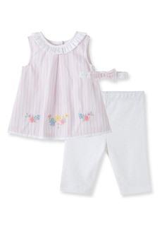 Little Me Border Stripe Tunic, Leggings & Headband Set (Baby)