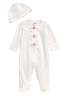 Little Me Bow Dot Footie & Hat Set (Baby)