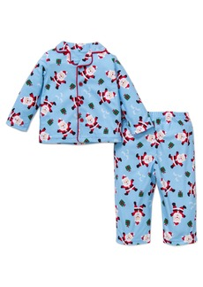 Little Me Boys' Holiday Santa 2 Piece Fleece Pajama Set