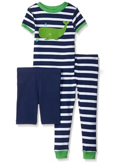 Little Me Little Boys' Toddler 3 Piece Cotton Pajamas