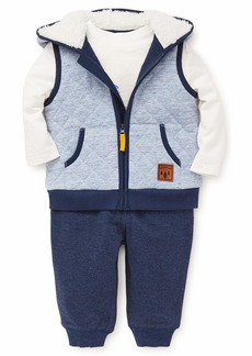 Little Me Boys' Toddler Vest Set Wolf sea Marshmallow/Navy Blue Heather