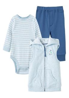 Little Me Buddy Bodysuit, Pants & Hooded Zip Vest Set (Baby)