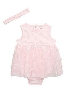 Little Me Butterfly Appliqué Tutu Bodysuit & Head Wrap Set (Baby)