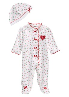 Little Me Candy Cane Footie & Hat Set (Baby)