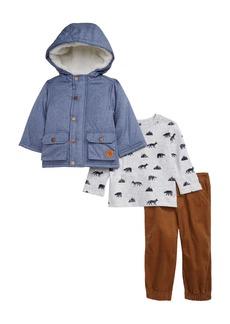 Little Me Chambray Jacket, Print T-Shirt & Corduroy Pants Set (Baby)