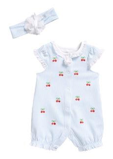 Little Me Cherries Romper & Head Wrap Set (Baby)