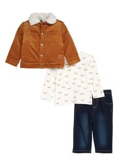 Little Me Corduroy Jacket, Fox Print T-Shirt & Jeans Set (Baby)